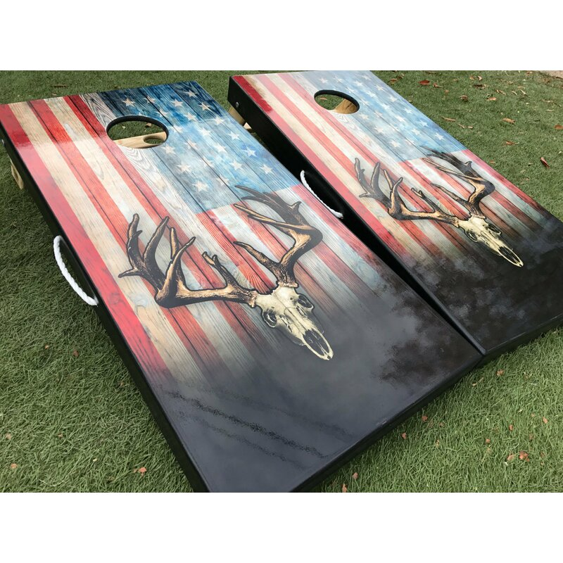 2' x 4' American Flag Deer Skull Manufactured Wood Cornhole Board