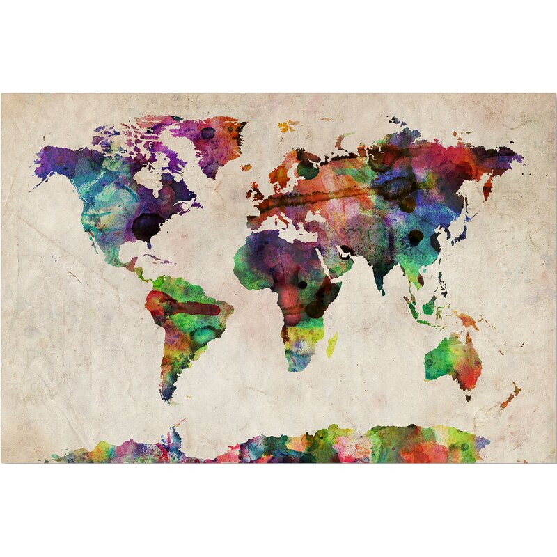 Urban Watercolor World Map\' Framed on Beige Canvas & Reviews | AllModern