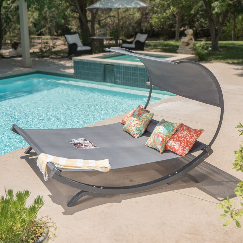 Beachcrest Home Maura Double Chaise Lounge with Cushion ...