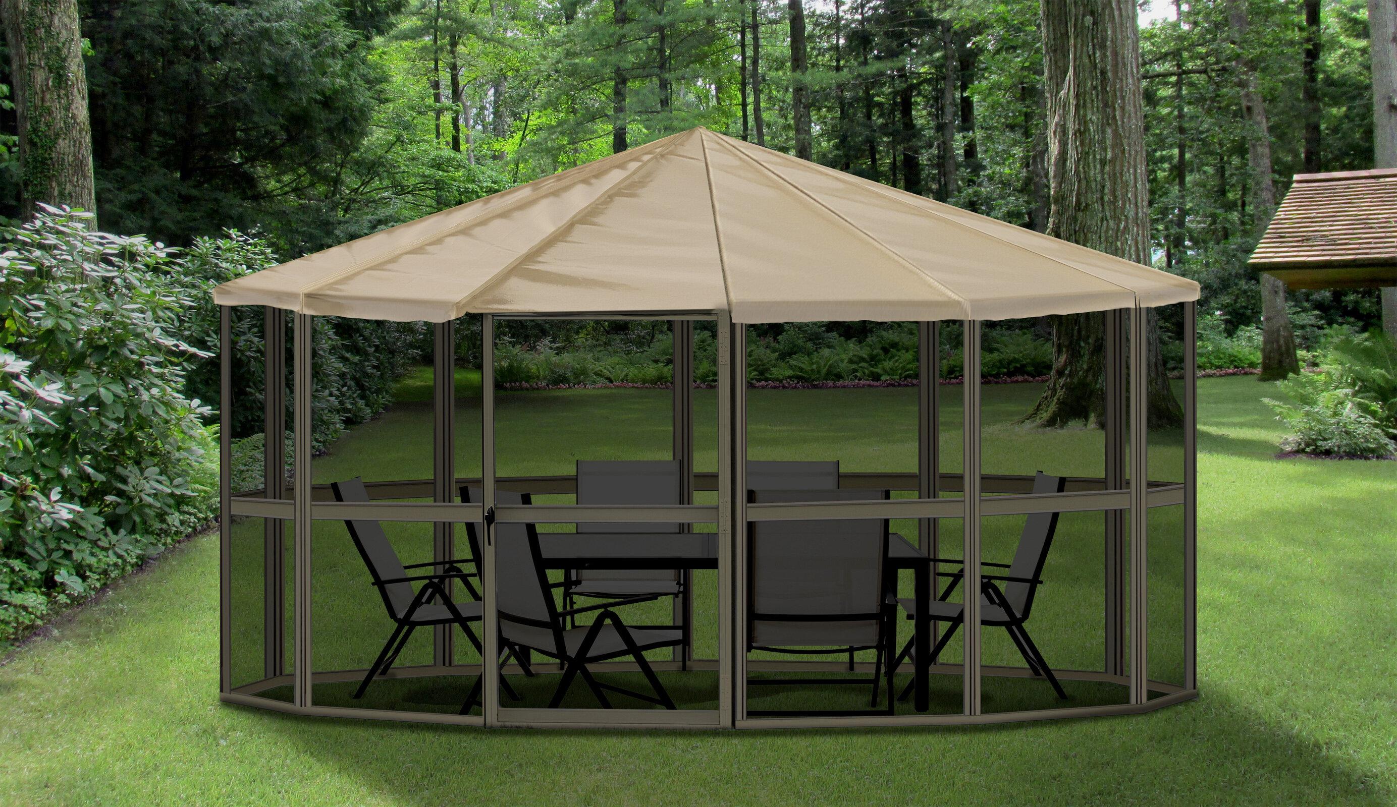 single ip gazebo netting patio x portable with walmart roof com