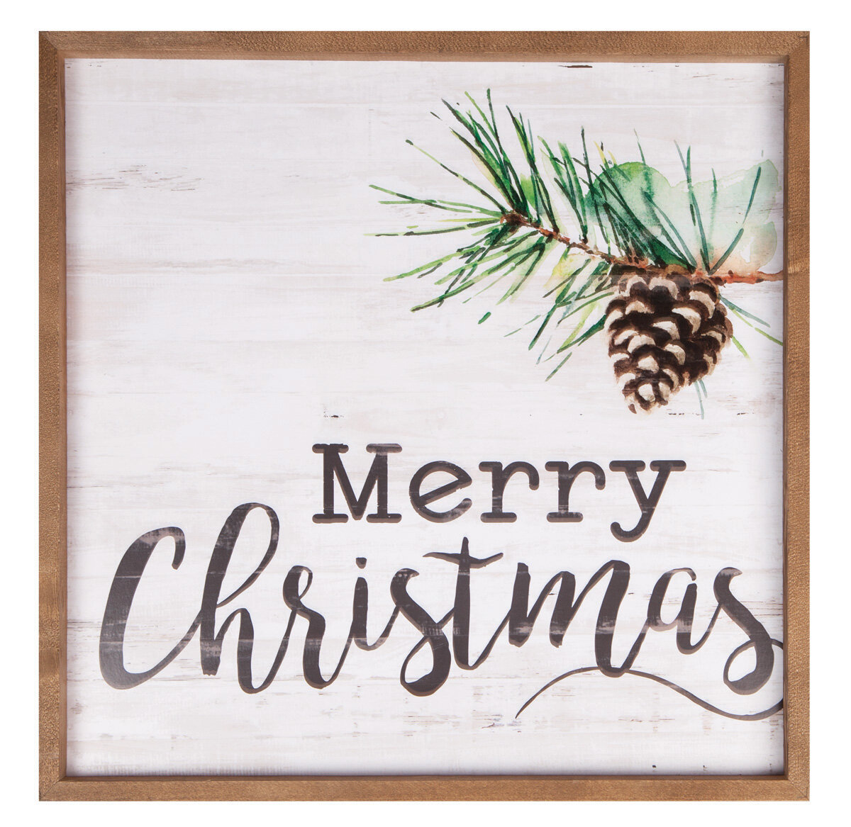 Merry Christmas\' Framed Textual Art on Wood | Birch Lane