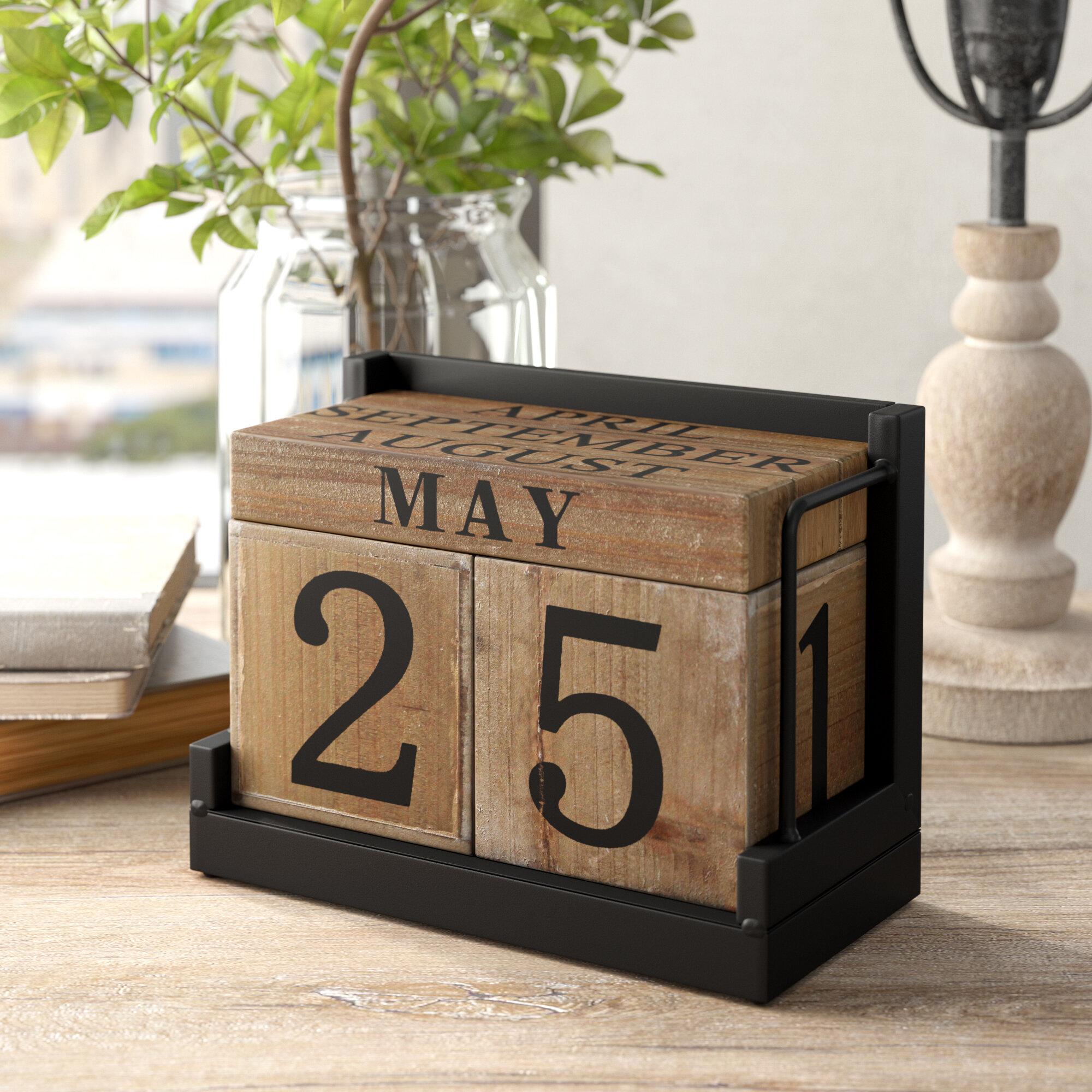 Maeva Large Wood Block Calendar