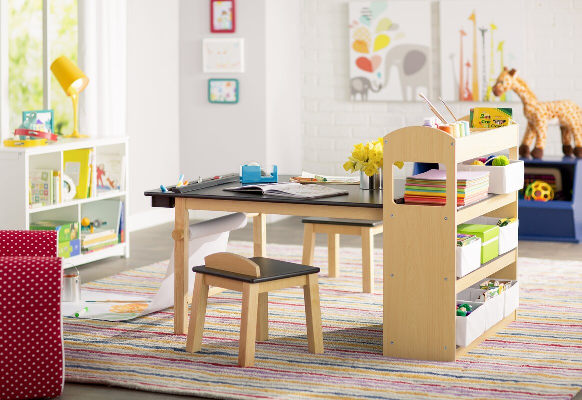 Nice Emilio Kids Rectangular Arts And Crafts Table With Stools