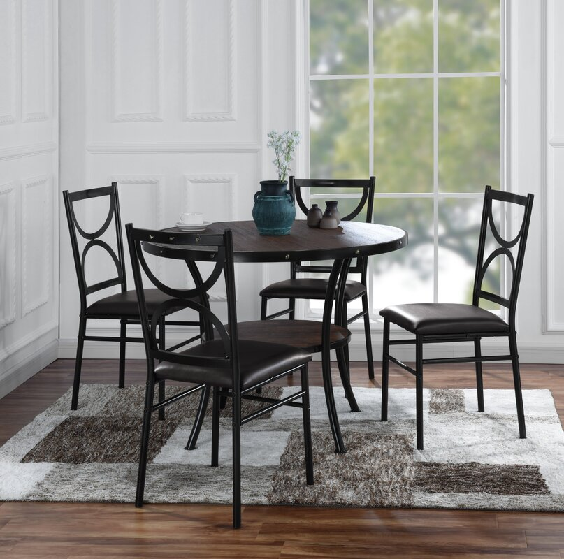 Caran Modern Round 5 Piece Dining Table Set