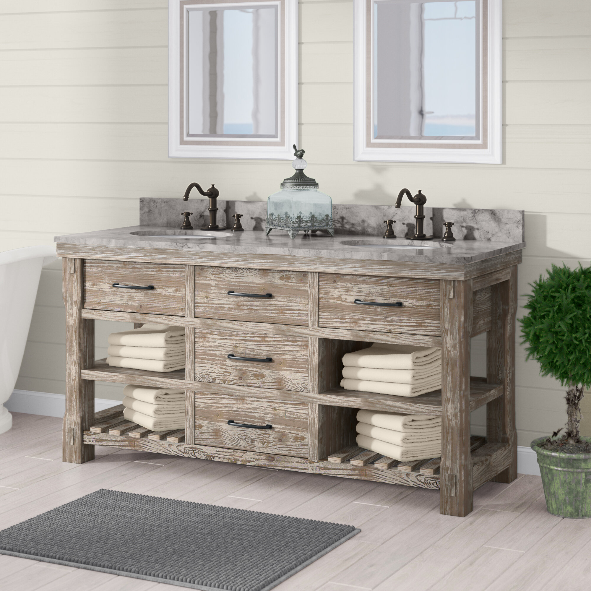 Laurel Foundry Modern Farmhouse Clemmie 61 Double Bathroom Vanity