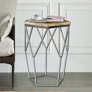 Magari Pentagono Lato Reclaimed Elm Wood End Table