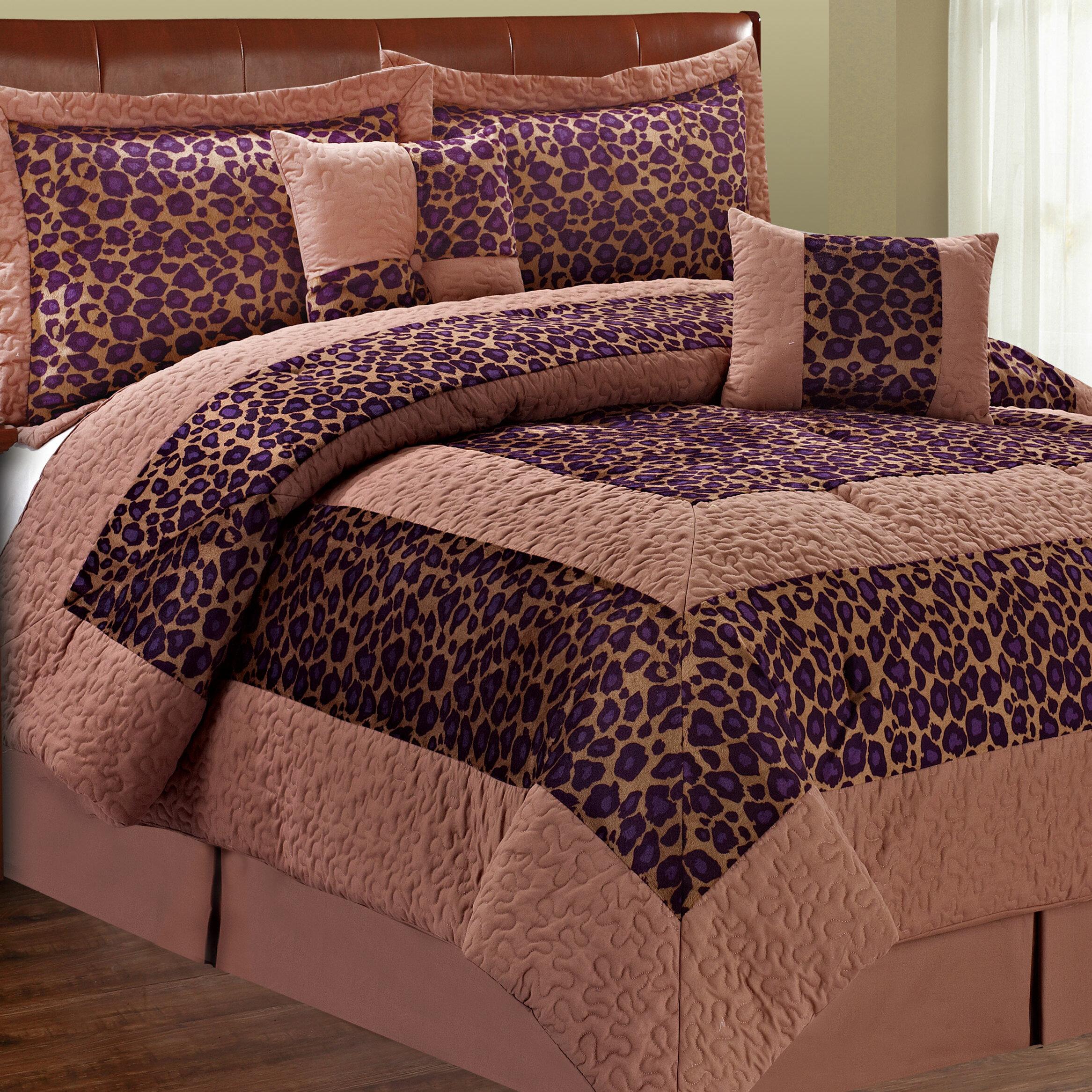 Bloomsbury Market Kasia Blackberry Fall Cheetah 6 Piece Comforter Set U0026  Reviews | Wayfair