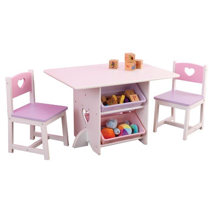 Heart Kids 7 Piece Table \u0026 Chair Set  sc 1 st  Wayfair & KidKraft Heart Kids 7 Piece Table \u0026 Chair Set \u0026 Reviews | Wayfair