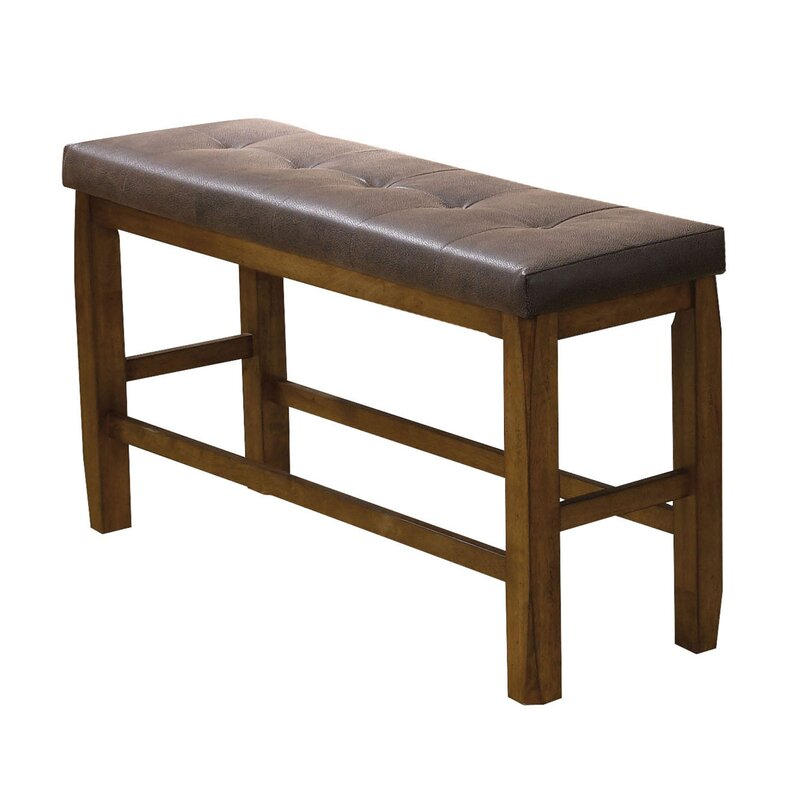 Odysseus Wooden Counter Height Leather Dining Bench