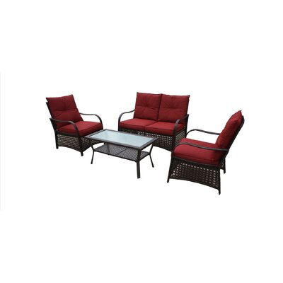 Bay Isle Home Ellenberger 4 Piece Sofa Set with Cushions