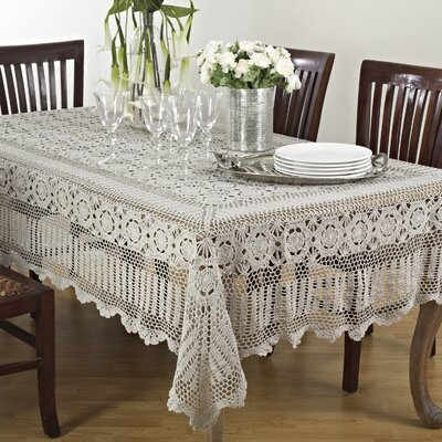 "August Grove Cavaillon Rectangular Lace Tablecloth  Size: 126"" L x 72"" W, Color: Gray"