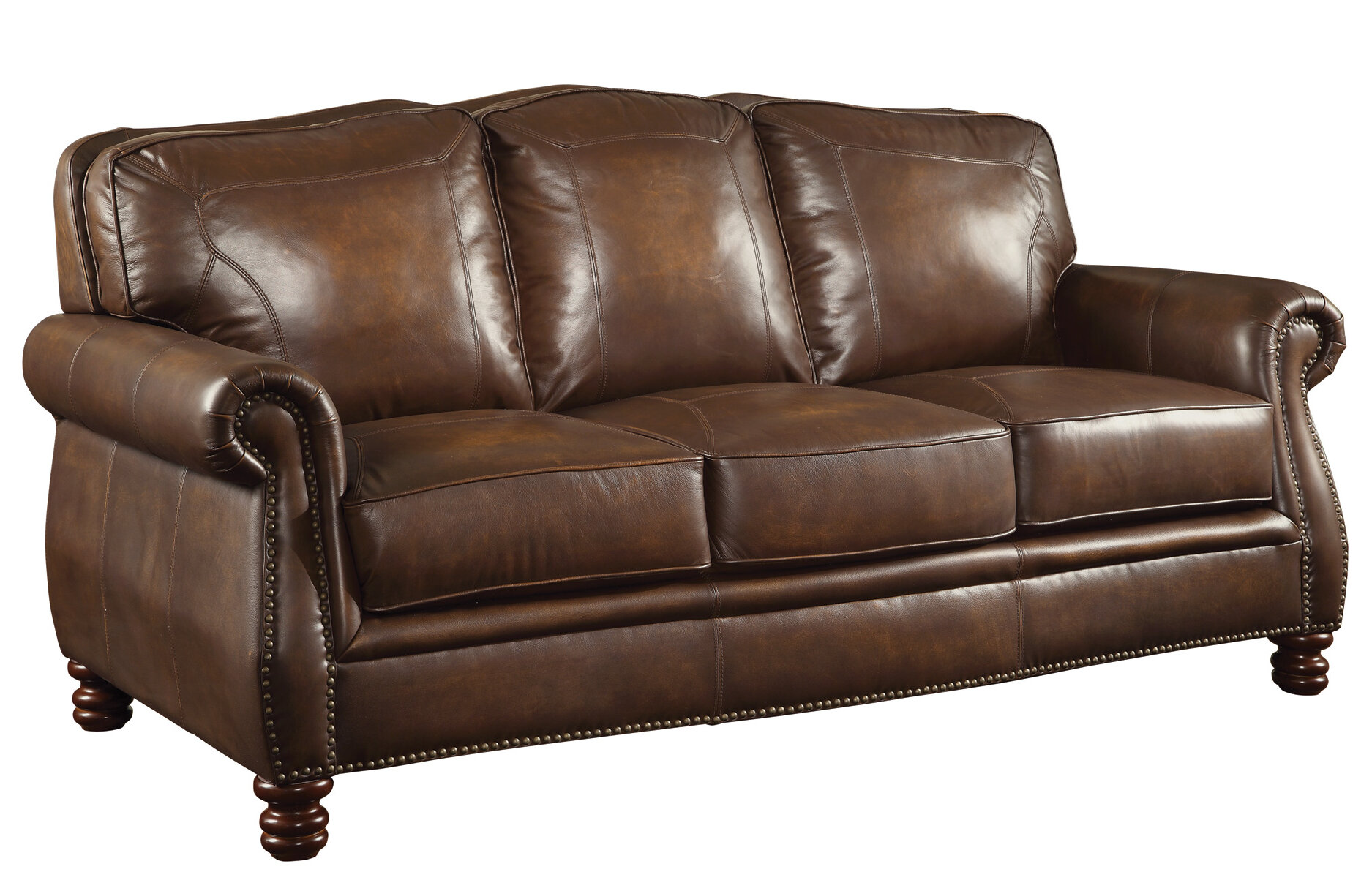 Darby Home Co Linglestown Leather Sofa Reviews Wayfair