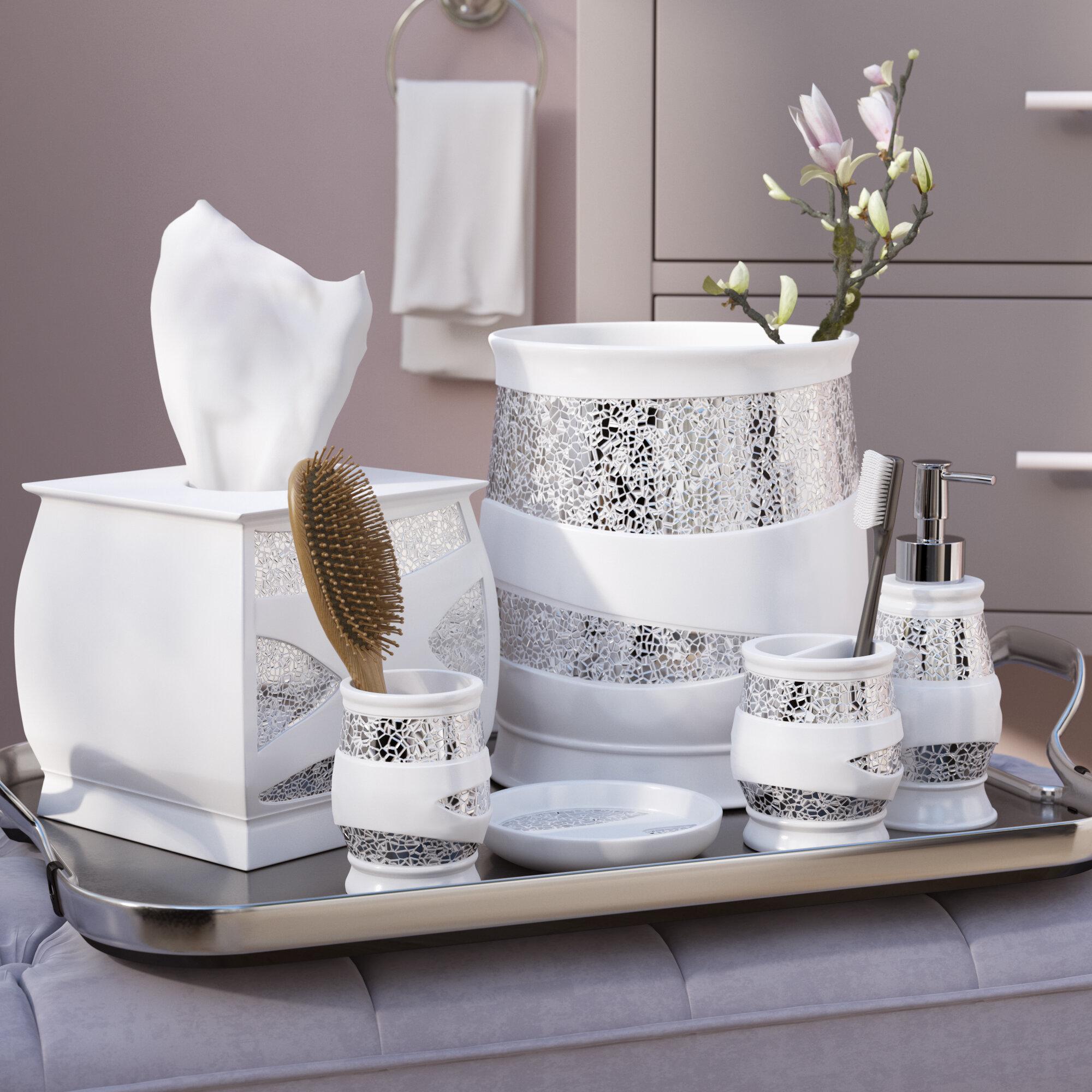 Genial Willa Arlo Interiors Rivet 6 Piece White/Silver Bathroom Accessory Set U0026  Reviews | Wayfair