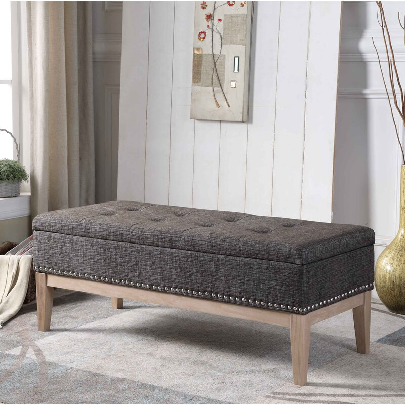 Lewistown Tufted Mid-Century Upholstered Storage Bench & Charlton Home Lewistown Tufted Mid-Century Upholstered Storage Bench ...