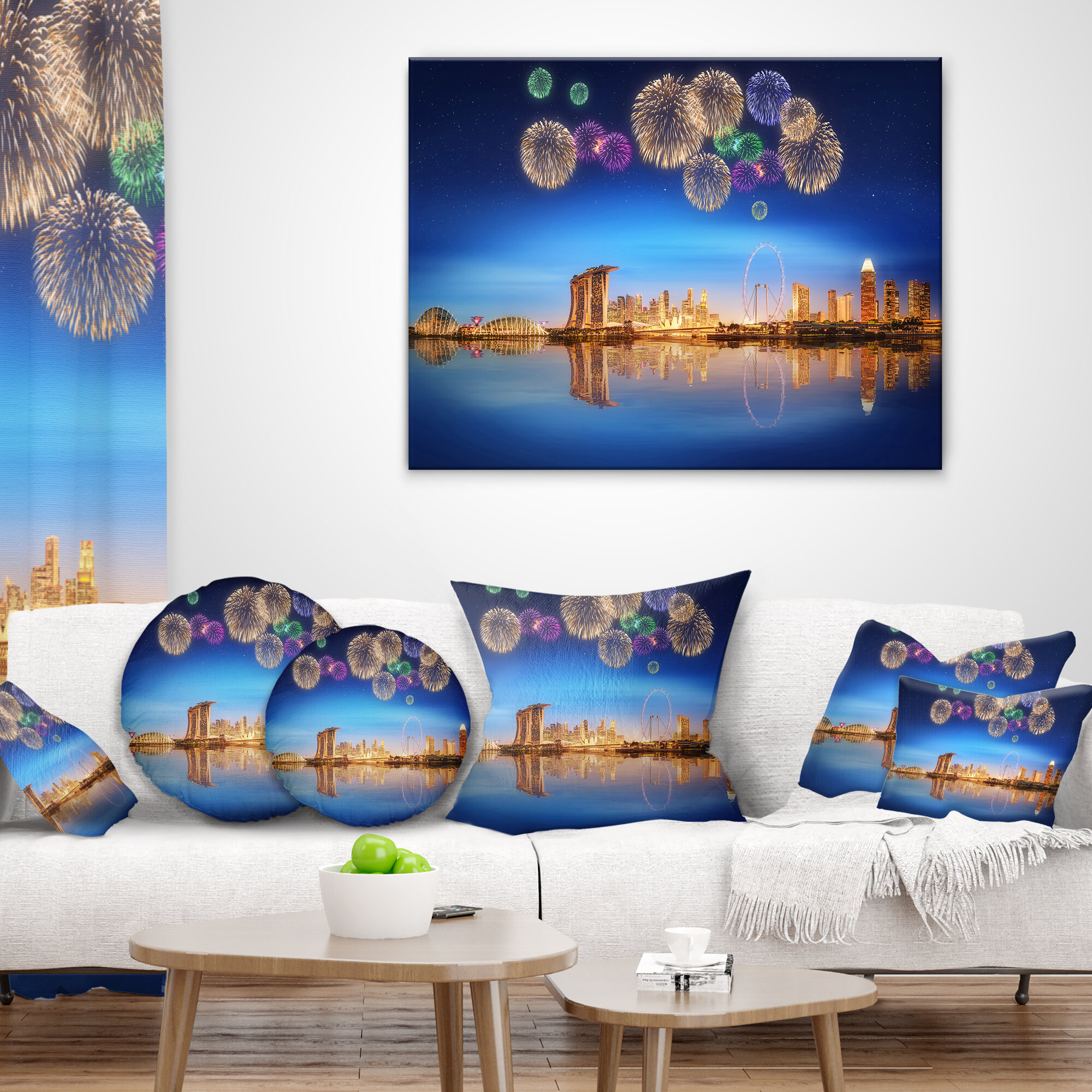 East Urban Home Designart Singapore Skyline Cityscape Photography Throw Pillow