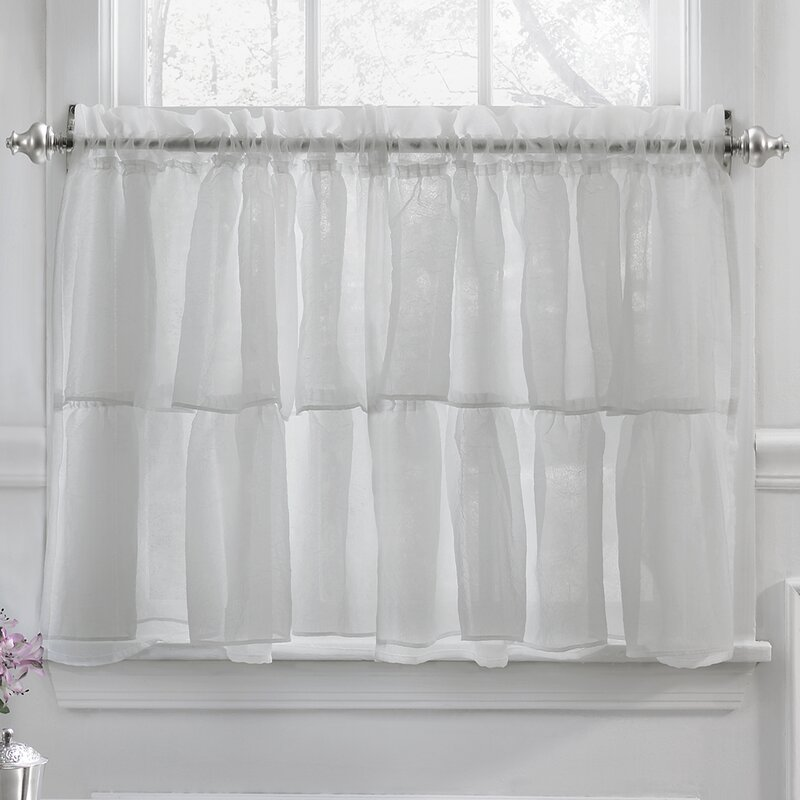 Elegant Crushed Voile Ruffle Kitchen Window Tier Curtain