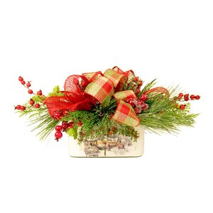 Festive Mixed Greens and Red Berry Arrangement