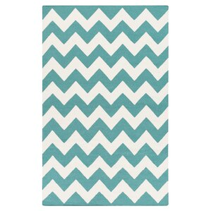 York Teal Chevron Pheobe Area Rug