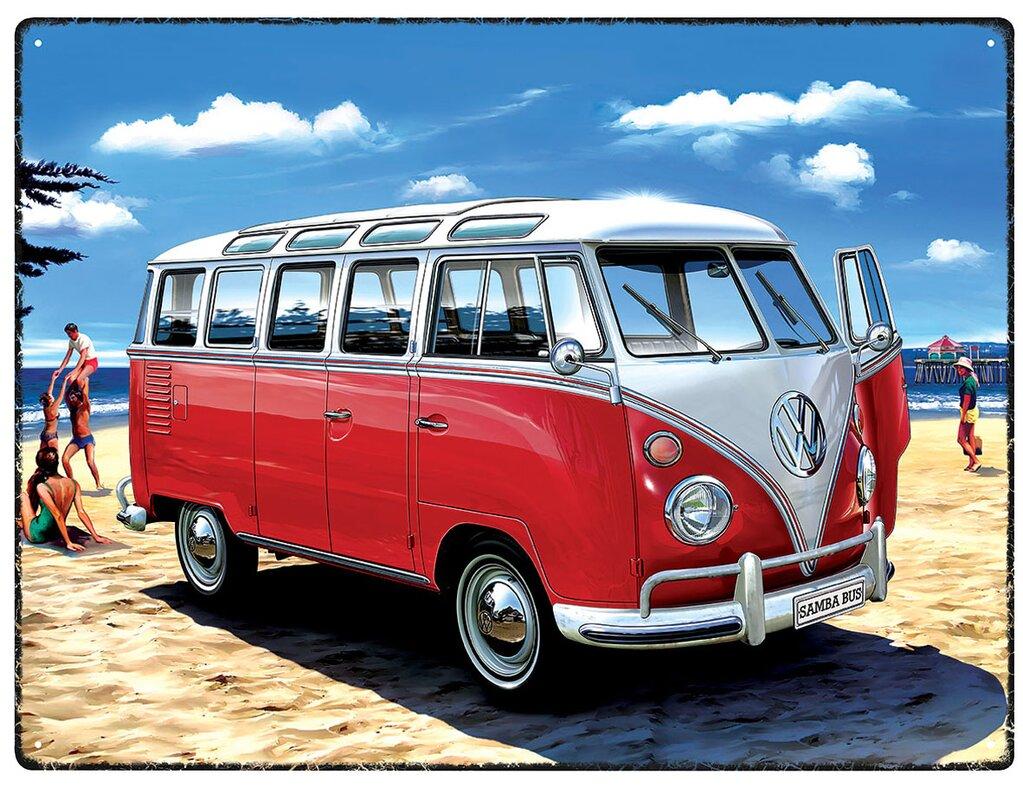 red hot lemon schild vw samba bus beach grafikdruck. Black Bedroom Furniture Sets. Home Design Ideas