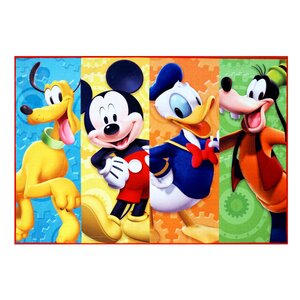 Disney Mickey Mouse Polyester Blue/Yellow/Orange Kids Rug