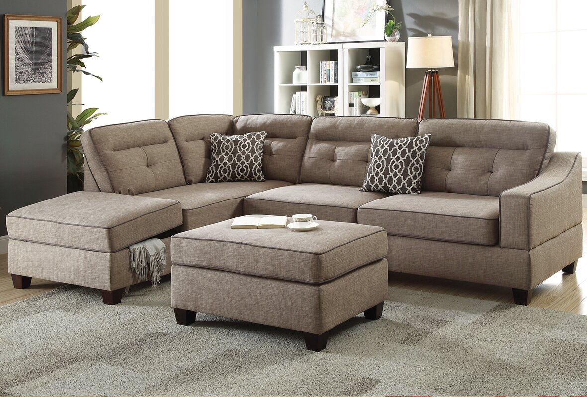 Sarah Reversible Sectional with Storage Compartment and Ottoman : storage sectional - Sectionals, Sofas & Couches