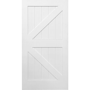 Stile/Rail K Planked Manufactured Wood 4 Panel White Interior Barn Door