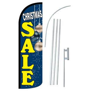 Christmas Sale Deluxe Polyester 11'6 x 3'2 Feather Banner