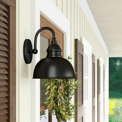 Camron Outdoor Flush Mount Gracie Oaks Size: 9.5 H x 7.5 W x 9 D, Shade Finish: Imperial Black