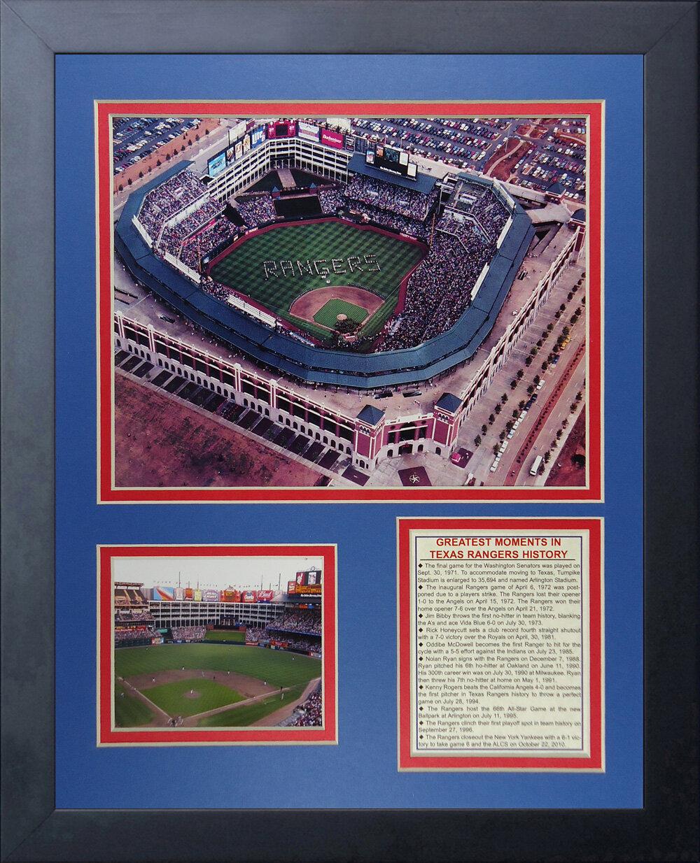 032b19834ca Legends Never Die Texas Rangers Ballpark at Arlington Framed Memorabilia