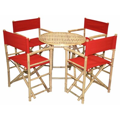 5 Piece Dining Set Bamboo54 Color: Red
