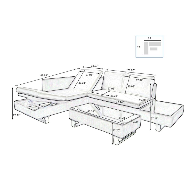 Orren Ellis Puccio 3 Piece Sectional Set With Cushions