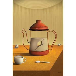 Teapot on Table Graphic Art on Wrapped Canvas