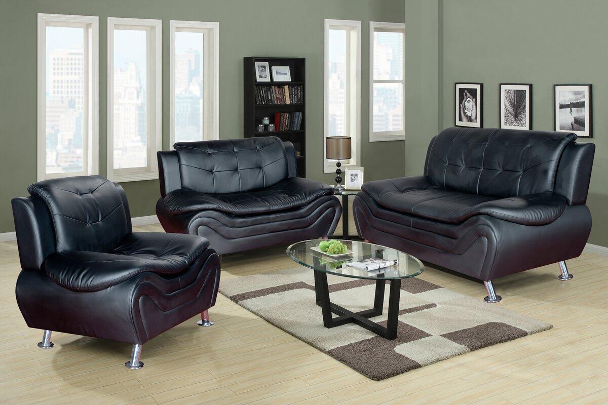 Latitude Run Algarve 3 Piece Leather Living Room Set & Reviews ...