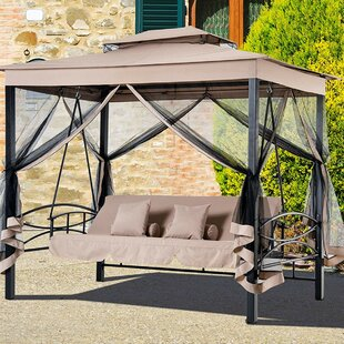 Kenyatta Outdoor Patio Daybed Canopy Gazebo Swing With Mesh Walls