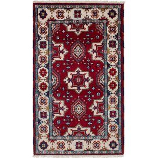 Order One-of-a-Kind Norene Hand-Knotted Wool Red/White Area Rug By Isabelline