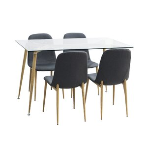 Goodman Modern Glass 5 Piece Dining Set by Brayd..