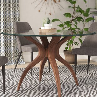 glass dining furniture pedestal elderton dining table modern glass tables allmodern