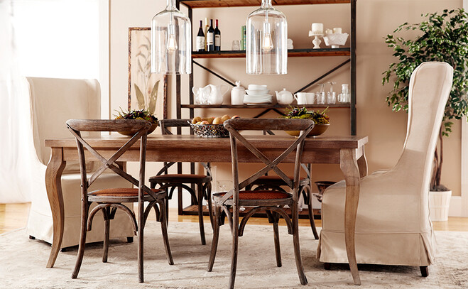 Wood And Neutral Dining Chairs