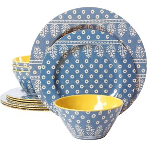 Studio California By Laurie Gates Melamine Zoey 12 Piece Dinnerware Set, Service for 4