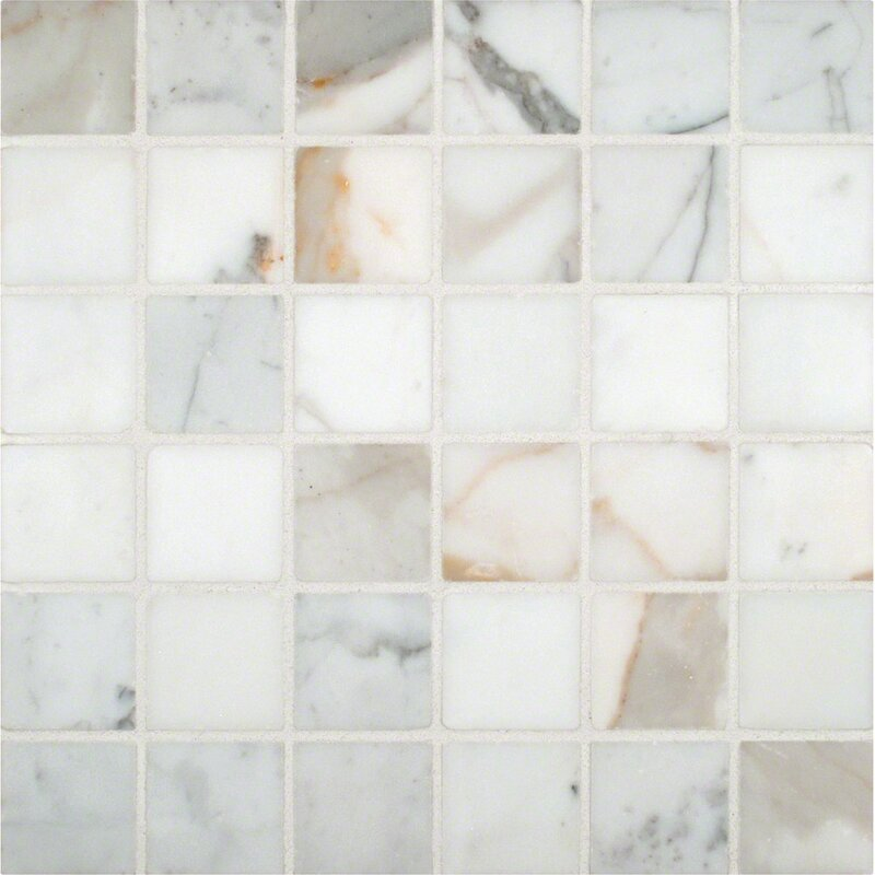 Msi Calacatta Gold Mounted 2 X 2 Marble Mosaic Tile In White Wayfair