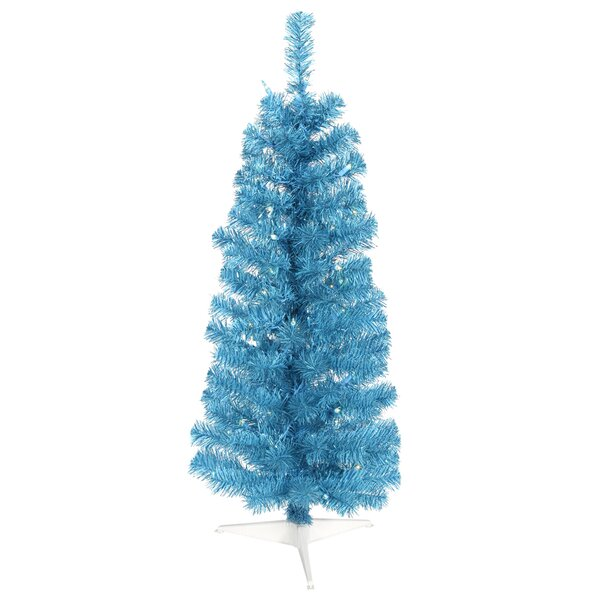 vickerman 10 sparkling sky blue artificial pencil christmas tree with blue lights wayfair