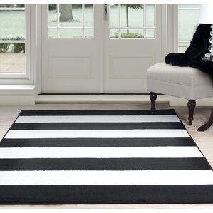 Bold Stripe Black White Area Rug