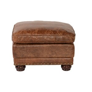 Hardwick Leather Ottoman by Lazzaro Leather
