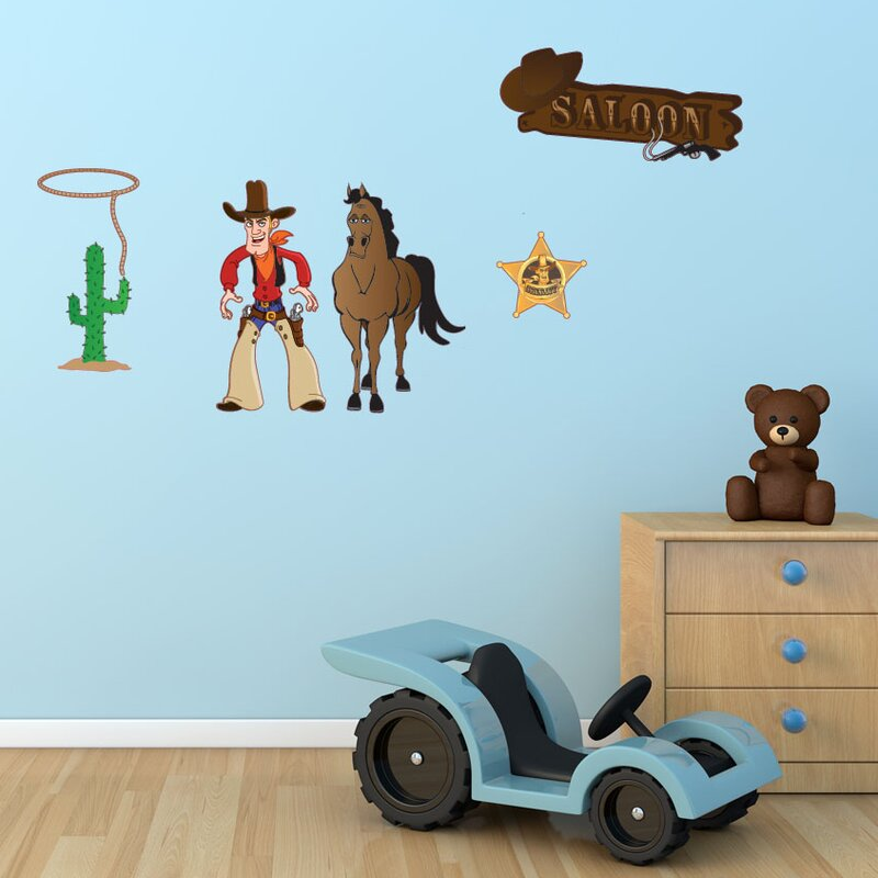 Colorful Cowboy Wall Decal & Style and Apply Colorful Cowboy Wall Decal | Wayfair