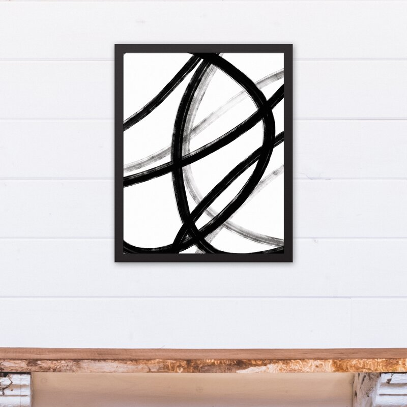 Orren Ellis \'Loops Black and White Abstract\' Framed Graphic Art ...