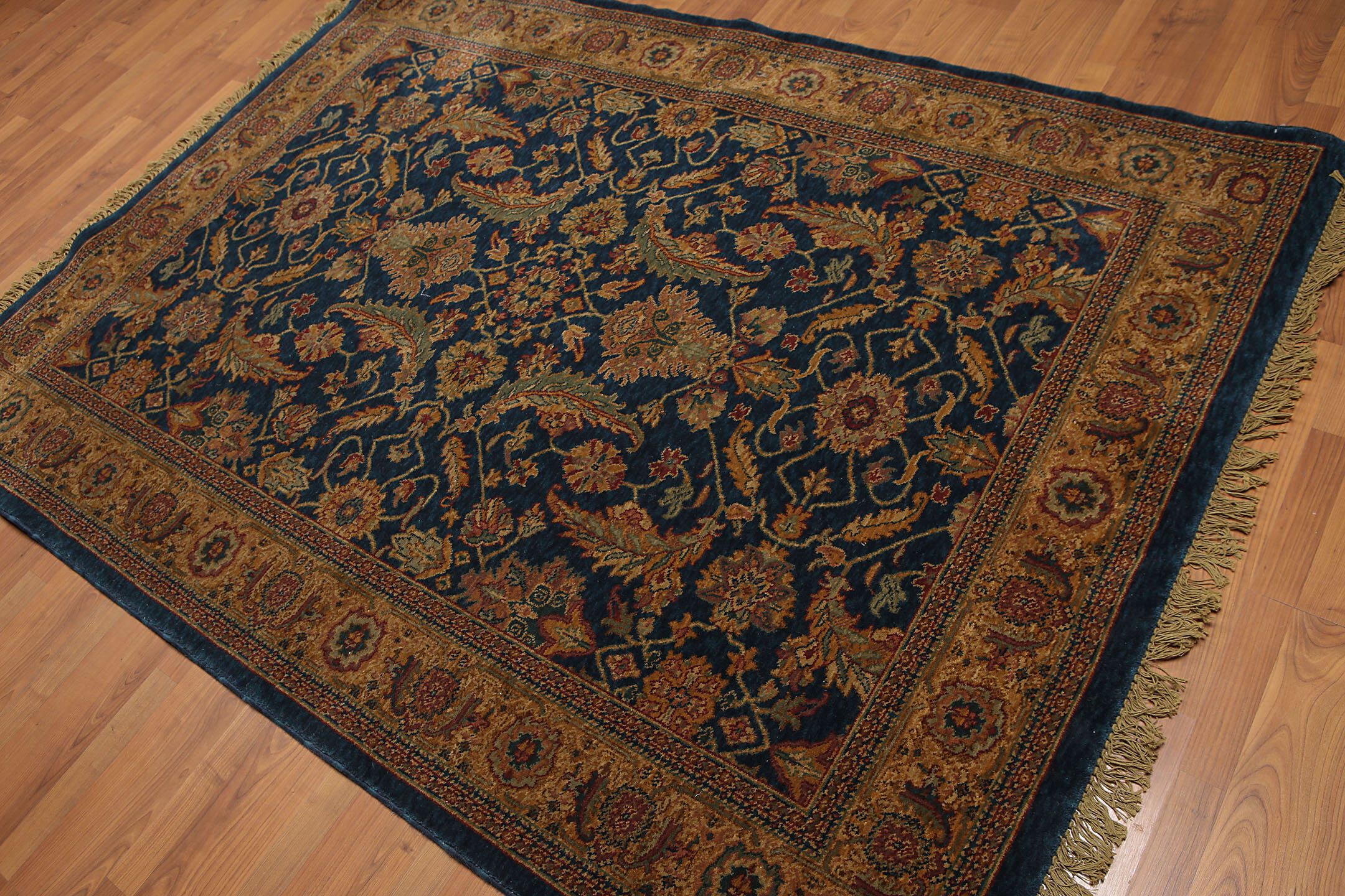 Canora Grey Judy Traditional Wool Blue Brown Gold Area Rug