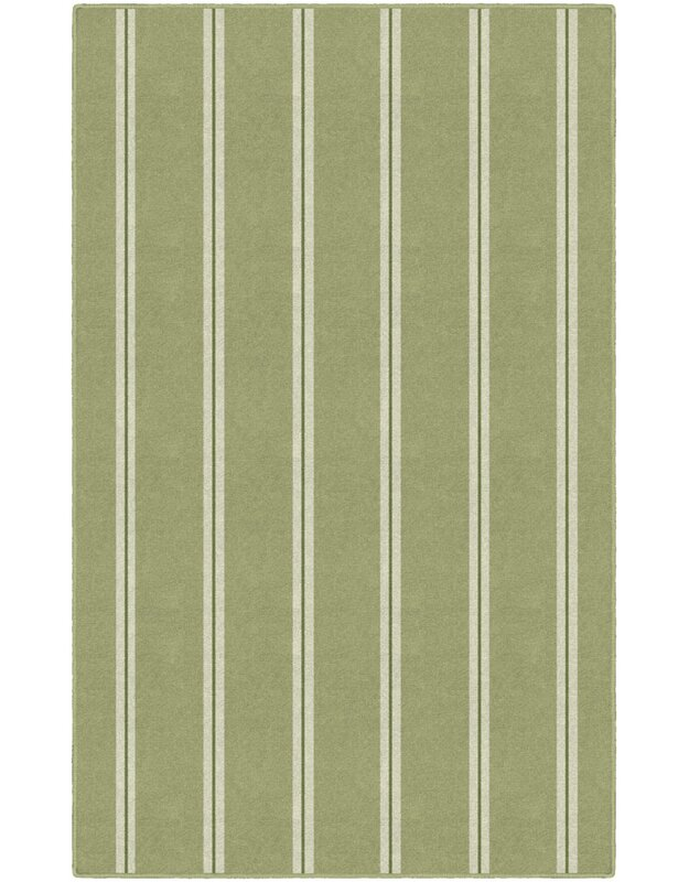 Highland Dunes Roxana Traditional Vertical Striped Green Area Rug, Size: Rectangle 76 x 10