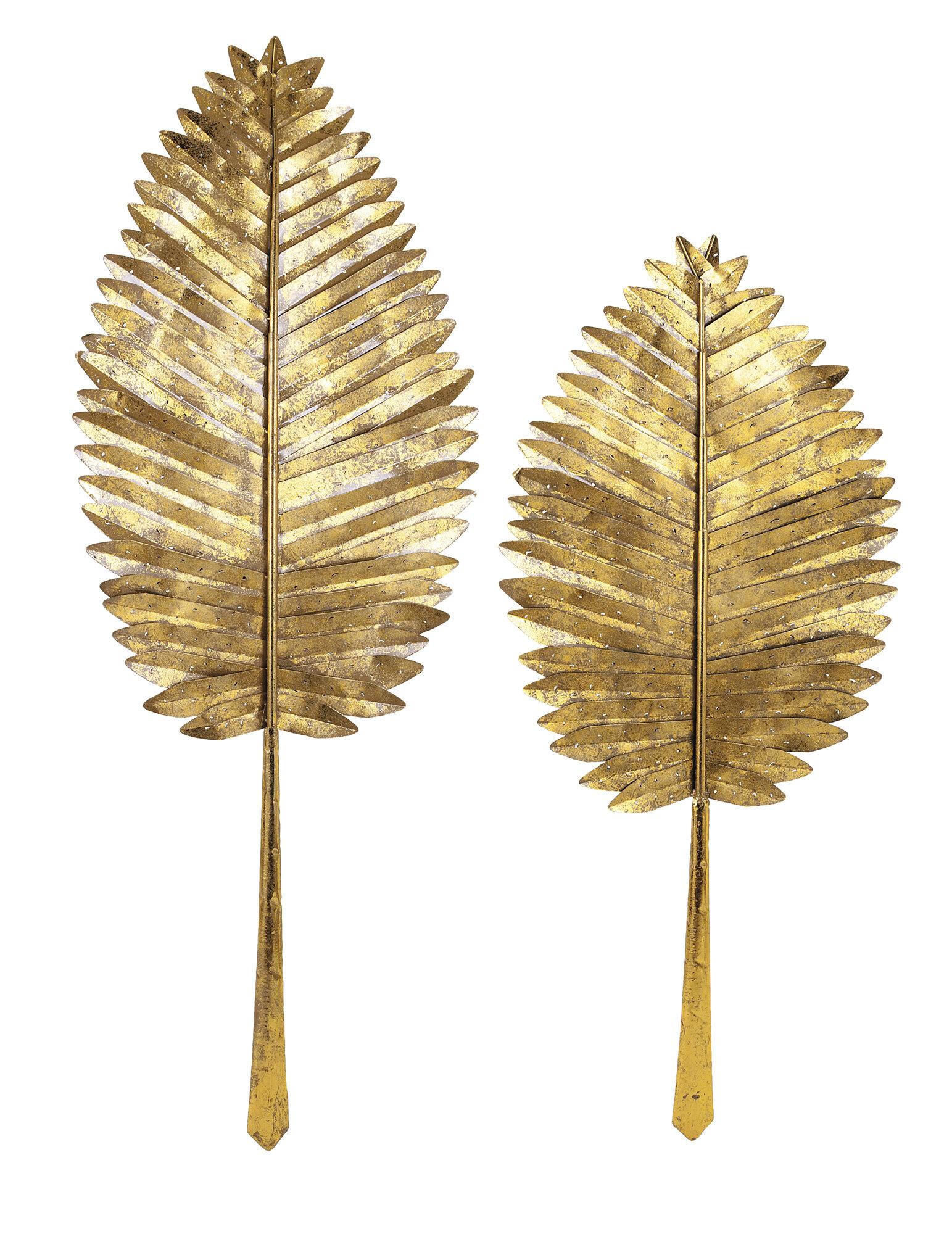 Bay Isle Home Gold Decorative 2 Piece Wall Leaf Set & Reviews   Wayfair