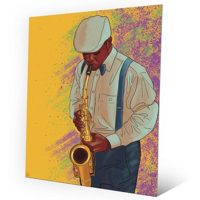 Click Wall Art \'Jazzy Saxophone\' Graphic Art on Plaque | Wayfair.ca