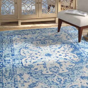 Reviews Almonte Aqua/White Area Rug By Bungalow Rose